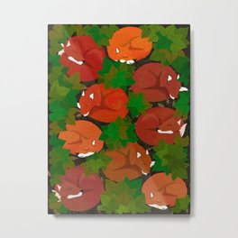 Sleepy foxes and Grapevine leaves Metal Print