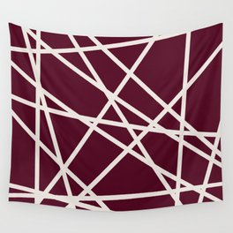 Maroon Line Wall Tapestry