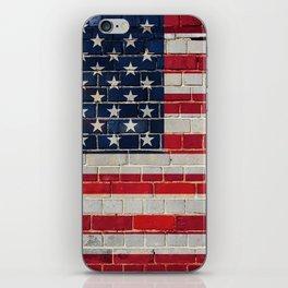 America flag on a brick wall iPhone Skin