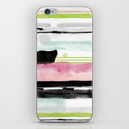 Watercolour stripe abstract pattern iPhone Skin