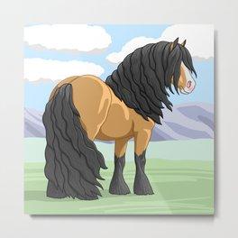 Buckskin Gypsy Vanner Draft Horse Metal Print