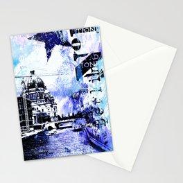 Berlin urban blue mixed media art Stationery Cards