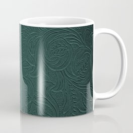 Forest Green Tooled Leather Coffee Mug