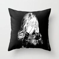sarah paulson Throw Pillows featuring Sarah by Taylor Wessling