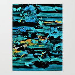 Clouds over Turbulent Waters - Abstract with Rice Paper Poster