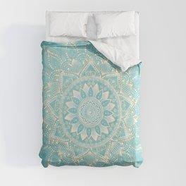 Elegant White Gold Mandala Sky Blue Design Comforters