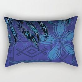 Samoan Blue Malu Mana Tribal Collage Rectangular Pillow