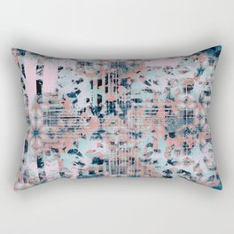 Pink and Blue Modern Geometric and Animal Print Pattern Rectangular Pillow