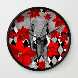 POINSETTIAS ELEPHANTS AND HARLEQUINS OH MY Wall Clock