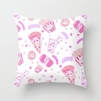junk food Throw Pillows featuring JUNK by bb0t