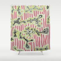 aliens Shower Curtains featuring aliens by DanaBanana