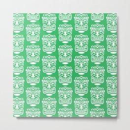 Tiki Pattern Green Metal Print