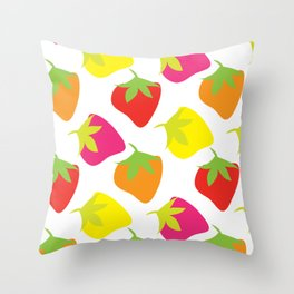 Graphic Strawberries Print Throw Pillow