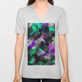 psychedelic square pixel pattern abstract background in green pink blue Unisex V-Neck