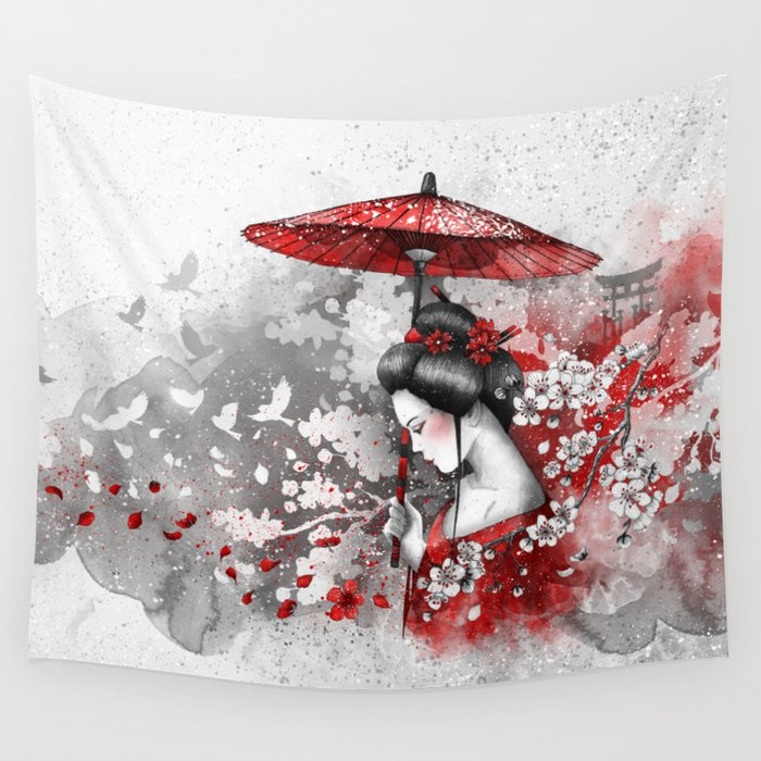 Falling blossoms Wall Tapestry