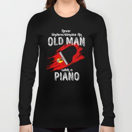 Grand Piano Old Man Keyboard Clavier Pianist Gift Long Sleeve T-shirt