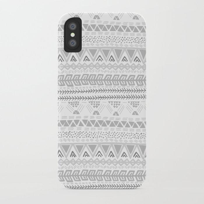 Grey aztec pattern iPhone Case