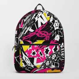 Abstract in callage bright colors and layers of patterns Backpack
