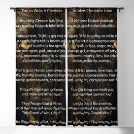 The TWO WOLVES CHEROKEE TALE Blackout Curtain