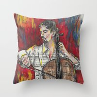cello Throw Pillows featuring Cello 1 by Ed Rucker