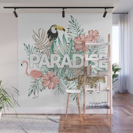 Paradise print with pink flamingo, toucan, leopard Wall Mural
