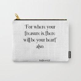 Matthew 6:21 Spiritual Inspirational Typographic Art Decor A087 Carry-All Pouch