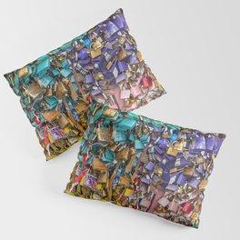 Pastel colored love locks in Paris   Noriko Aizawa Buckles Pillow Sham