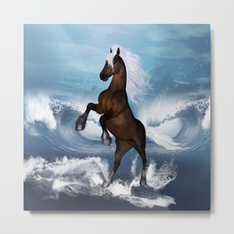Beautiful horse with white mane  Metal Print