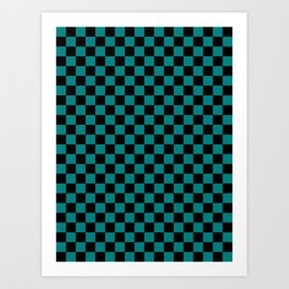 Black and Teal Green Checkerboard Art Print