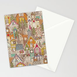 vintage gingerbread town Stationery Cards