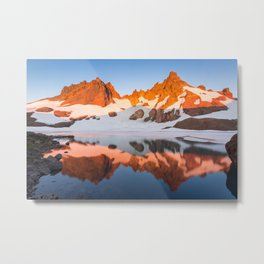 Broken Top Mountain Sunrise at Alpine Lake Metal Print