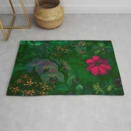 Gathering of Flowers - [Green Version] Rug