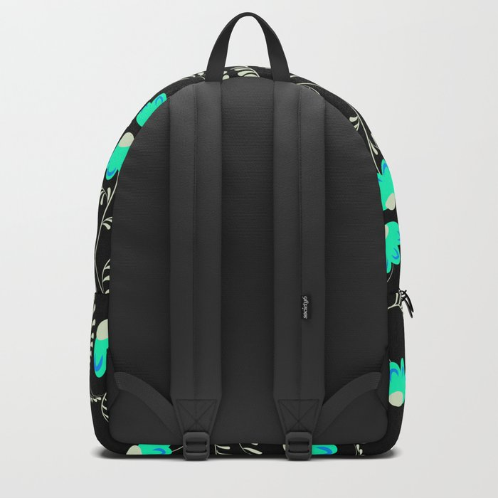 Retro . Turquoise flowers on a black background . Backpack