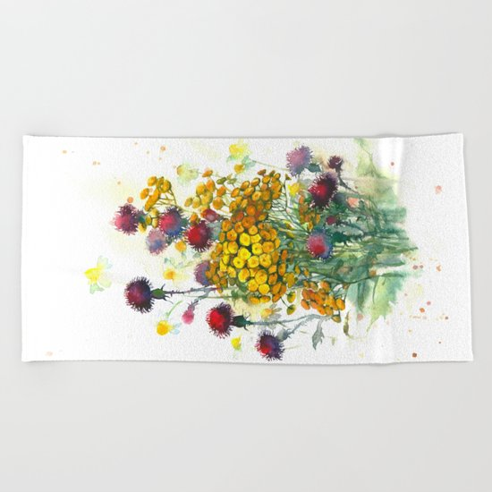 Watercolor wildflowers, aquarelle Beach Towel
