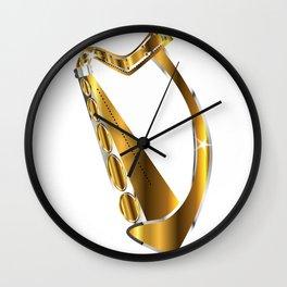 Golden Irish Harp Isolated Wall Clock