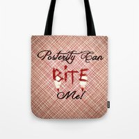 "carmilla Tote Bags featuring Carmilla Quote: ""Posterity can bite me"" by Paris Noonan"