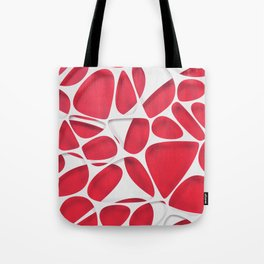 White on red, organic abstraction Tote Bag