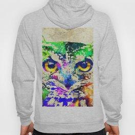 Owl Watercolor Grunge Hoody