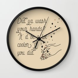 Wash Your Hands in Black & Mauve Wall Clock