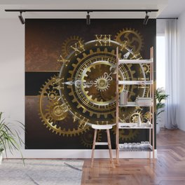 Steampunk Clock with Gears Wall Mural