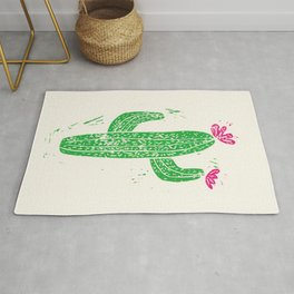 Linocut Cactus #2 Rug