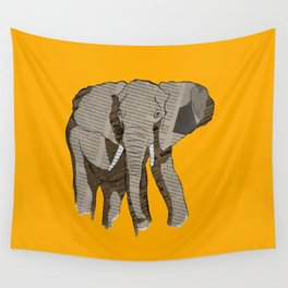 Newspaper Elephant Wall Tapestry