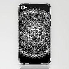 White Flower Mandala on Black iPhone & iPod Skin