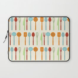 Kitchen Utensil Colored Silhouettes on Cream Laptop Sleeve
