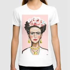 Frida Kahlo X-LARGE White Womens Fitted Tee