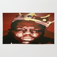 notorious Area & Throw Rugs featuring Notorious Big by The Art Of Gem Starr