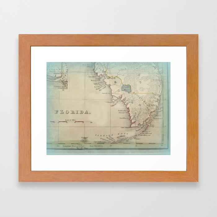 Printable Map Of Florida Keys.Antique Florida Keys Map Framed Art Print