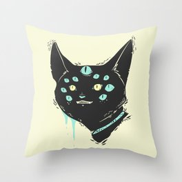 Strange Many Eyed Cat Creature, Goth Monster Art Throw Pillow