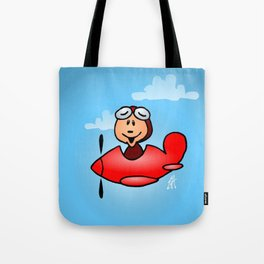 Red airplane with laughing pilot Tote Bag