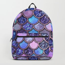 Colorful Pink & Purple Watercolor & Glitter Mermaid Scales Backpack